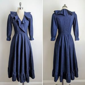 vintage 70's cotton denim ruffle dress
